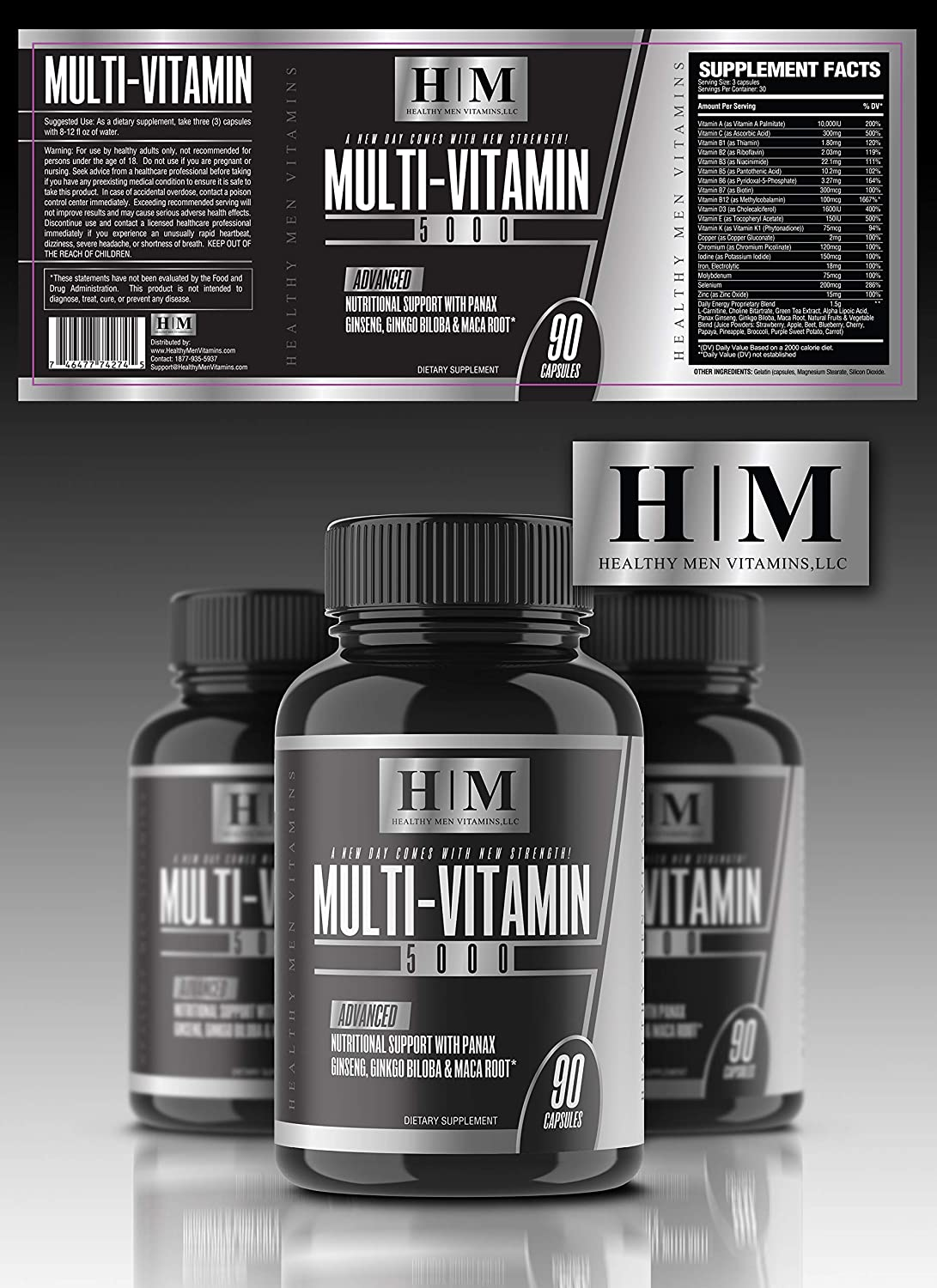 The Best Multivitamin Supplement for Men! Multi-Vitamin 5000 Infused with Panax Ginseng, Maca Root, Green Tea Extract & Ginkgo Biloba for Daily Energy, Vitality and Memory(90 Capsules) Vitamin A - K