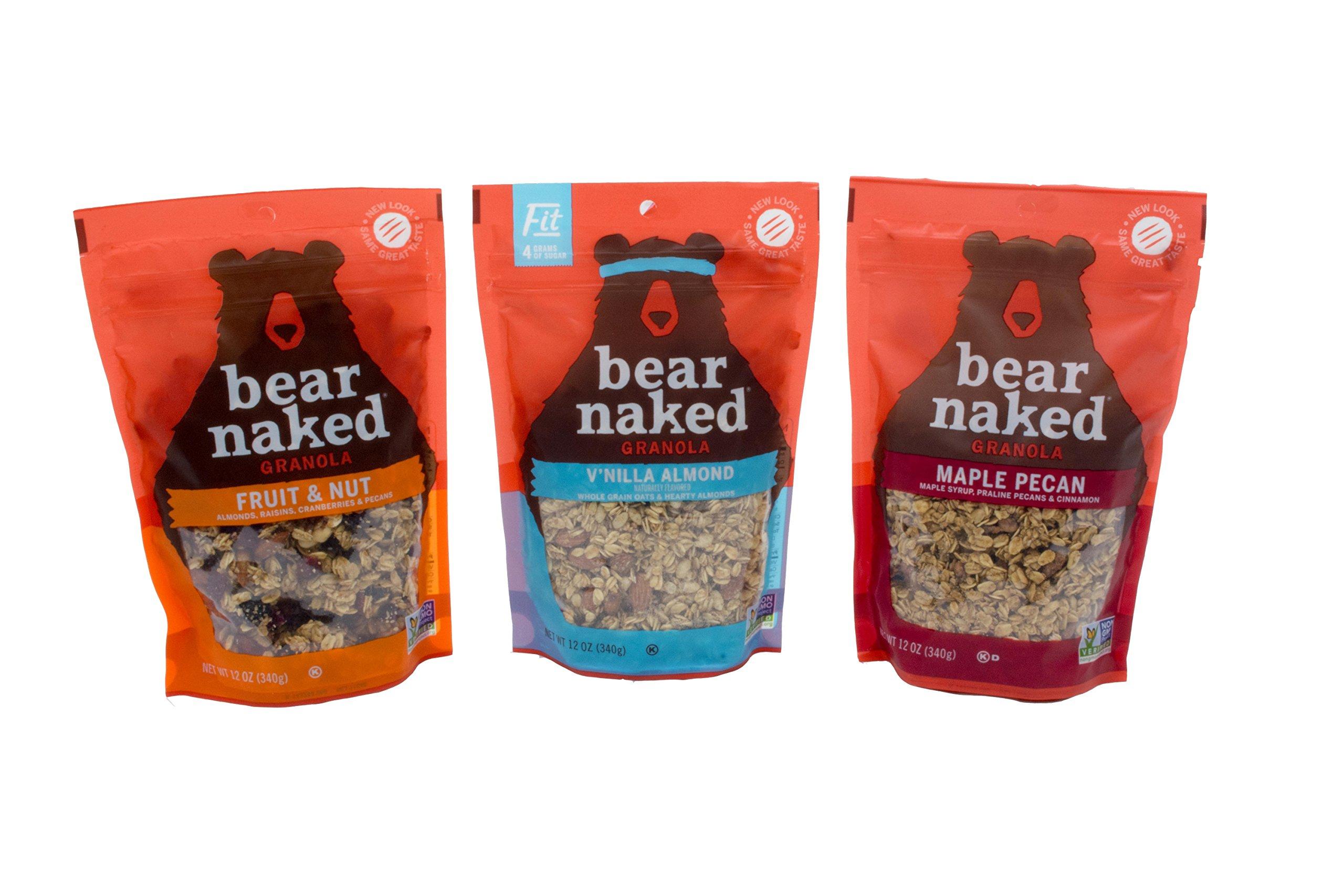 Bear Naked 100% Natural Granola 3 Flavor Variety Pack: (1) Bear Naked Maple-icious Pecan Granola, (1) Bear Naked V'nilla Almond Fit Granola, and (1) Bear Naked Fruit And Nutty Granola, 12 Oz. Ea.
