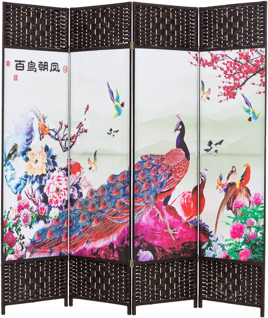 THY COLLECTIBLES Decorative Freestanding Woven Bamboo Canvas Print 4 Panels Hinged Panel Screen Portable Folding Room Divider Peacocks