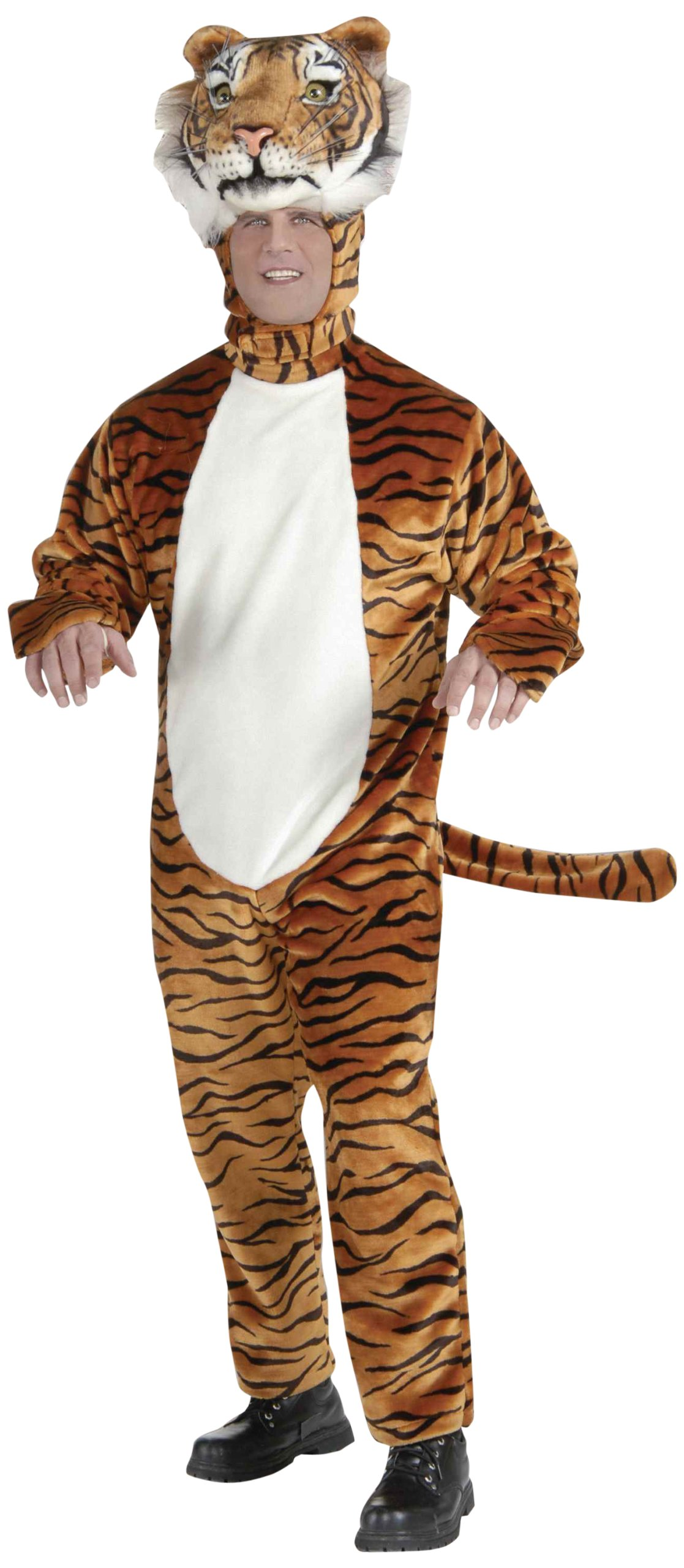 Forum Novelties Men's Deluxe Plush Tiger Mascot Adult Costume, Orange, Standard
