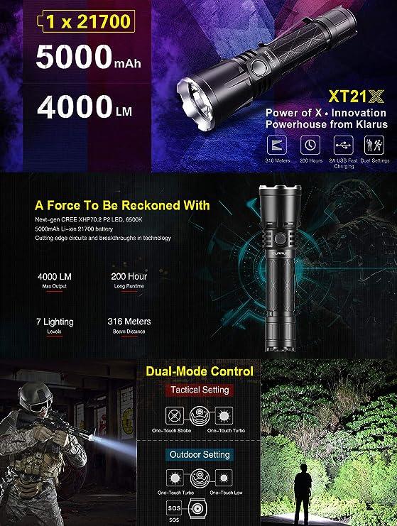 Avec Batterie 21700 Klarus XT21X Lampe de Poche Tactique 4000 lumens // 316 m/ètres CREE XHP70.2 P2 LED Lampe Torche USB Rechargeable Puissante NO Filter