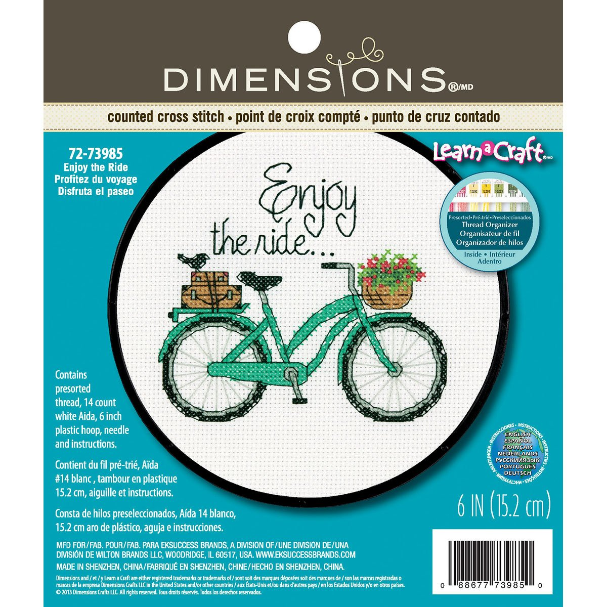 Dimensions Crafts 72-73985 Adult Learn a Craft Counted Cross Stitch, Enjoy The Ride