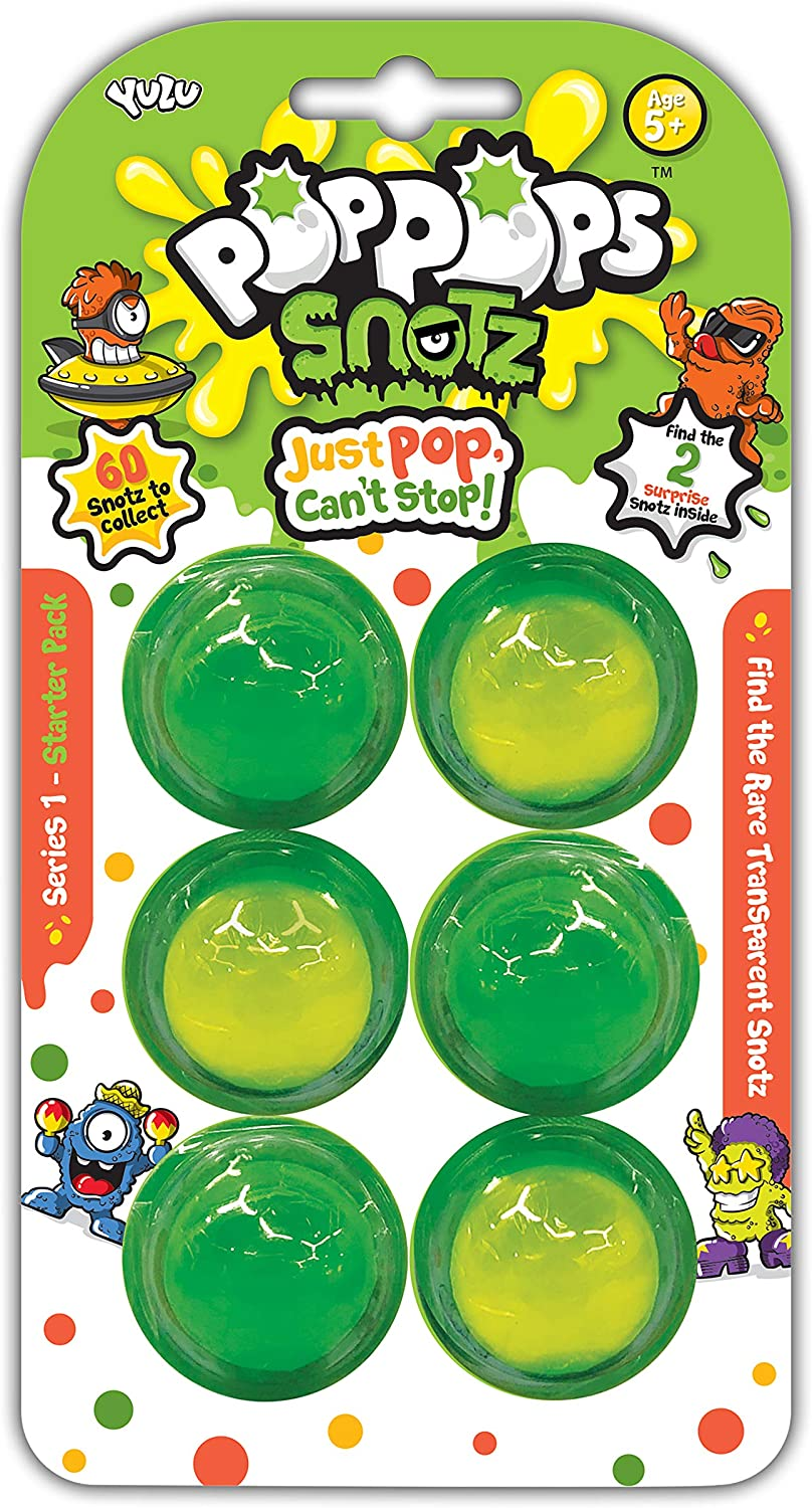 Pop Pops Snotz combine super stretchy slime, gross collectible characters and bubble popping fun! The Deluxe Pack contains 12 Bubbles filled with fantastic, light and dark green slime as well as four surprise Snotz characters to find. Pop the bubbles to hunt for the Snotz and look out for the super rare sticky ones! Once you've popped all the bubbles you can play with the oozey, gooey slime and add your new Pop Pops Snotz to your collection! Gross collectibles and slimy fun for 5 and over.