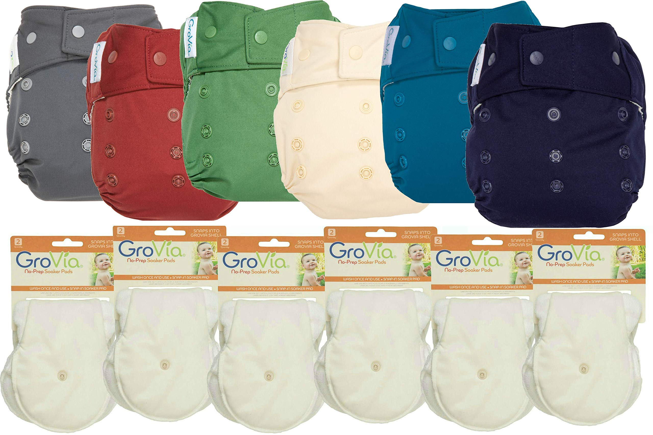 GroVia Hybrid Part Time Package: 6 Shells + 12 No Prep Soaker Pads (Color Mix 7 - Snap)
