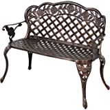 HOMEFUN Aluminum Outdoor Bench, Garden Benches Patio Front Porch Loveseat Furniture, Rose Carving Antique Bronze