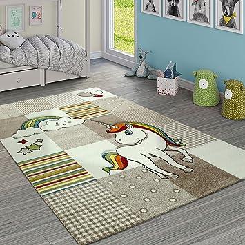 tama/ño:120x170 cm Paco Home Alfombra Infantil Arco Iris Unicornio Color Gris