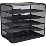EasyPAG 5 Tier Desk File Organizer Mailroom Mail Sorter Paper Letter Trays for Home & Office | Screws Free Design,Black