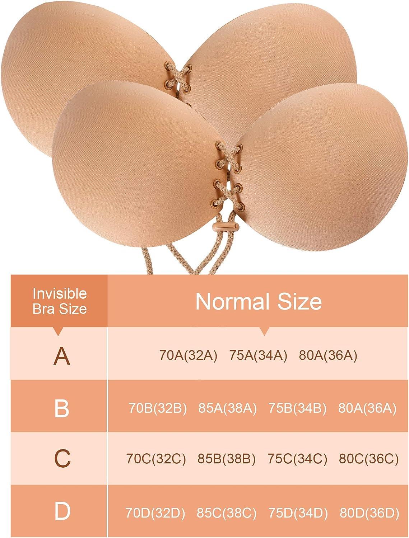 SOLOYEE Klebe-BH Adhesive Silikon Push Up Unsichtbare Backless BH Sticky Bras Tr/ägerloser Demi-BH