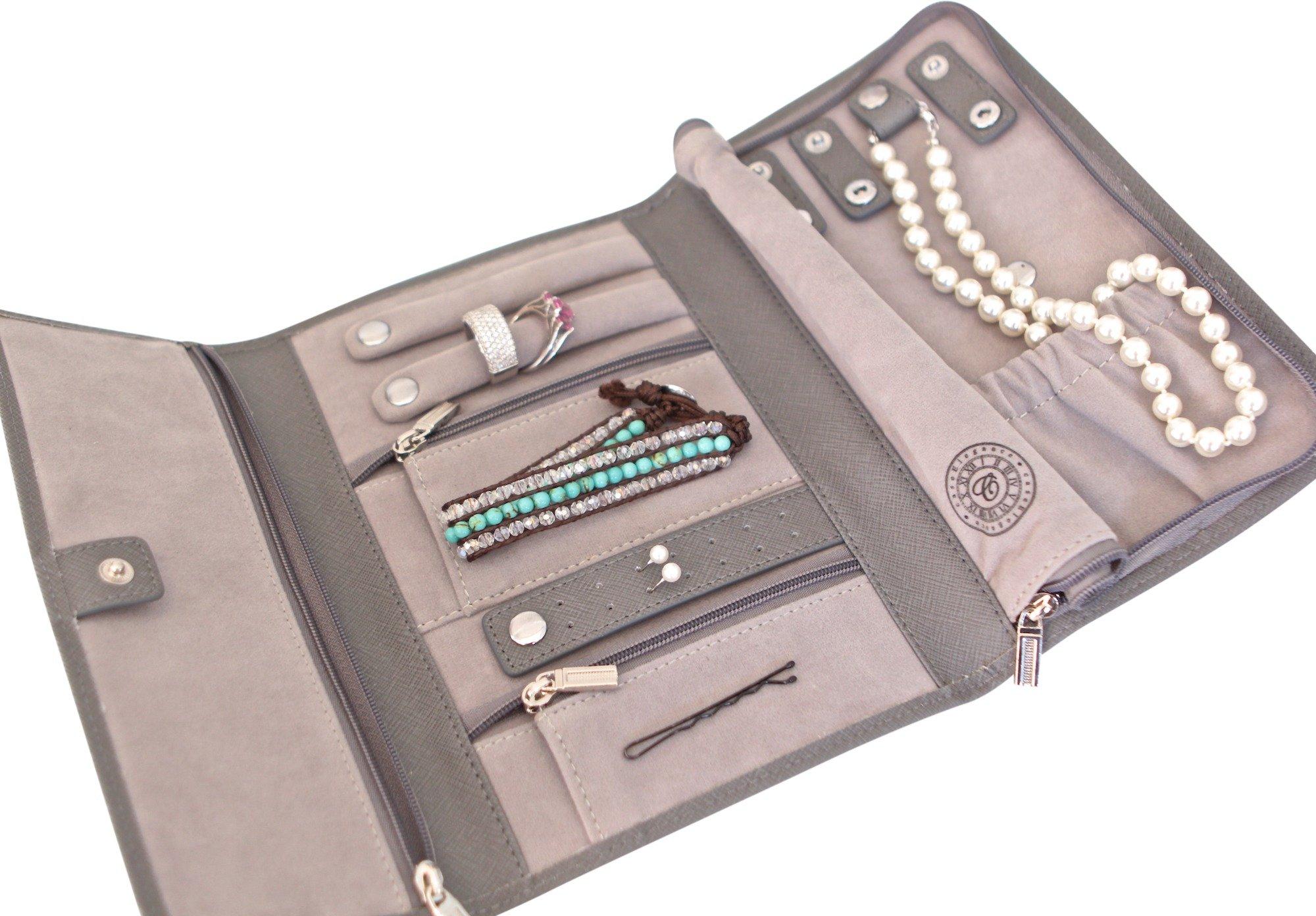 Saffiano Leather Travel Jewelry Case - Jewelry Organizer ...