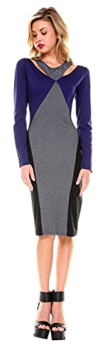 Stanzino® Colorblock Long Sleeve Knee Length Cutout Dress - Womens Club Dresses