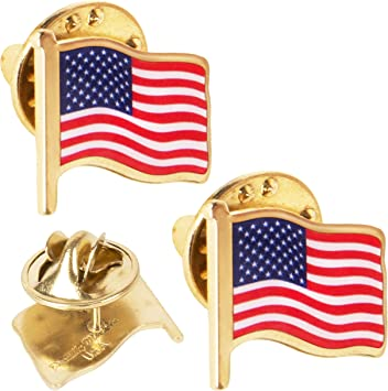 "Lot of 3 Pins*American Flag waving/""Gold tone /<3//4 inch/> Hat Pin //Lapel Pins"