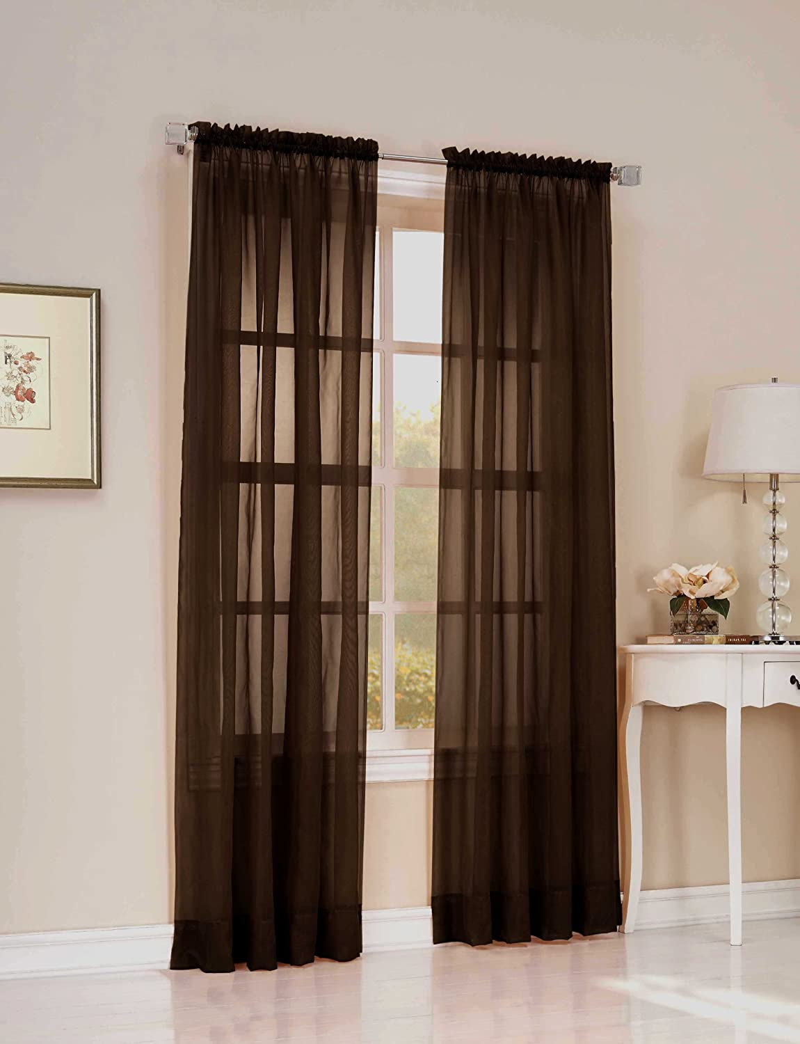 Easy Care Fabrics Solid Sheer Window Curtains/Drape/Panels/Treatment 55-Inch x 63-Inch, Chocolate GMA 104644.0