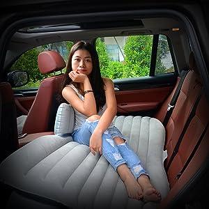 Mokasi Back Seat Inflatable Travel Car Mattress for SUVs, Sedans and Trucks, Grey