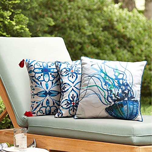 TINA S HOME Coastal Sea Creature and Watercolor Tiles Embroidered Outdoor Pillow Covers with Pompom Trim – 17 x 17 Inch, Blue Green Red, Set of 3