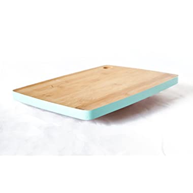Natural Bamboo Wood Cutting Board with Teal Border. Brings simple elegance to your kitchen. Small-medium size. Cut Out Handle for easy space saving storage.