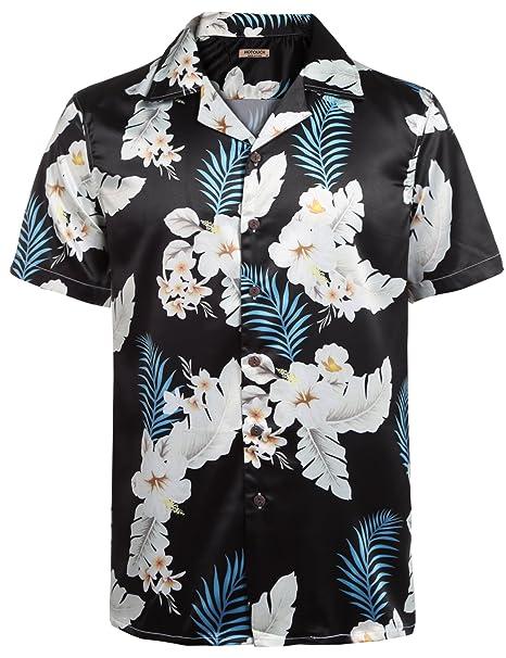 6432cd400 HOTOUCH Men's Hawaiian Aloha Vacation Shirt Short Sleeve Floral Tree ...
