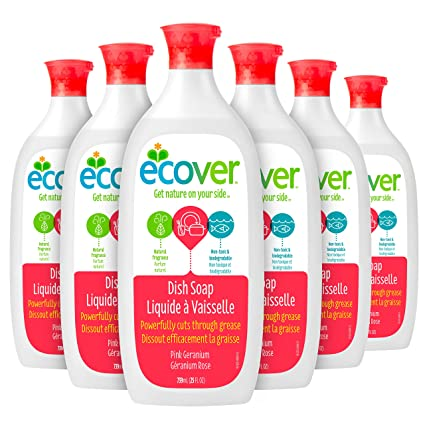 Ecover Natural Plant-based Liquid Dish Soap, Pink Geranium, 25 ...