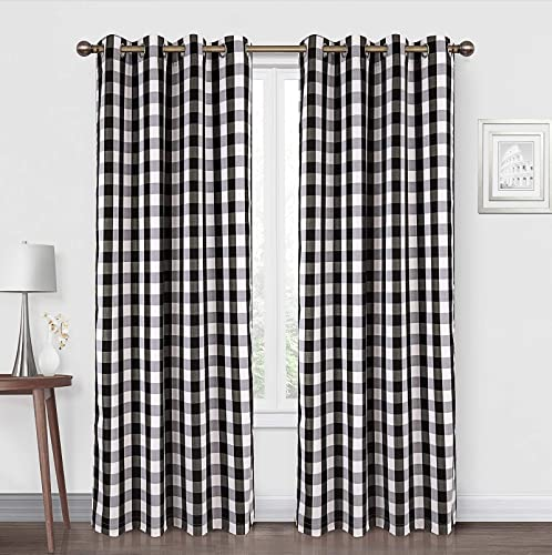 Annlaite Buffalo Checker Thermal Insulated Grommet Window Curtains 2 Panels Each 52 Inch by 84 Inch Black