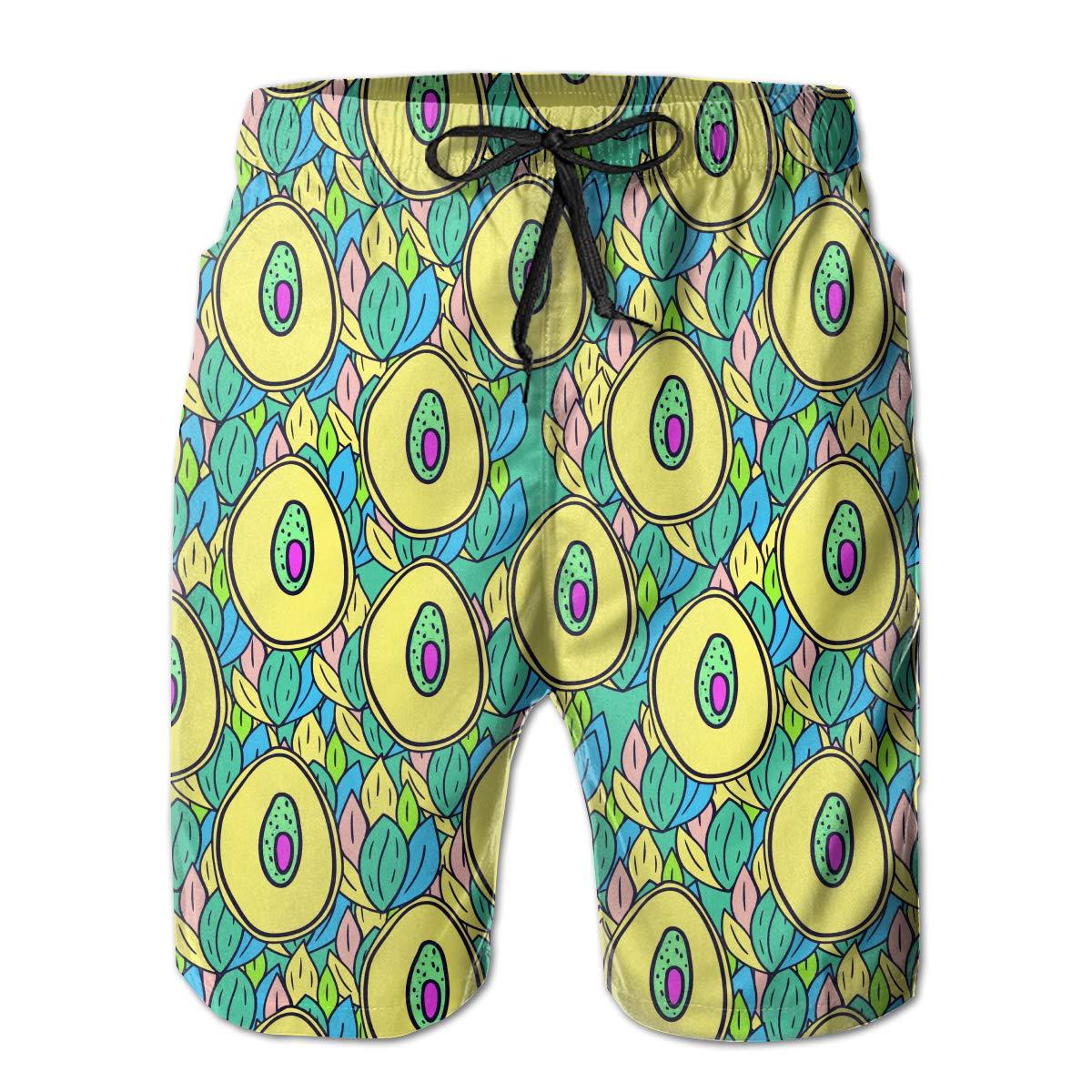 Mens Fruit Avocado Casual Quick Dry Swim Trunks Elastic Drawstring Swim Shorts with Pocket