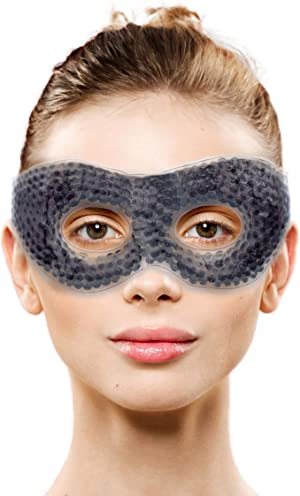 Gel Eye Mask with Eye Holes- Hot Cold Compress Pack Eye Therapy   Cooling Eye Mask for Puffy Eyes, Dry Eyes, Headaches, Migraines, Dark Circles, Sinus - Reusable Eye Face Mask   Ergo Gel Bead (Grey)