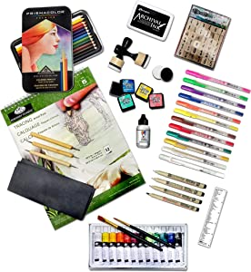 G.T. Luscombe Company, Inc. Deluxe Bible Journaling Kit | Colored Pencils, Acrylic Paints, Distressed Inks, Gesso, Archival Ink, Letter Stamps, Ink Blender, Tracing Artist Pack, Micron/Gelly Roll Set