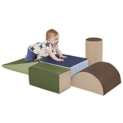 ECR4Kids SoftZone Climb and Crawl Activity Play Set, Lightweight Foam Shapes for Climbing, Crawling and Sliding, Safe Foam Playset for Toddlers and Preschoolers, 5-Piece Set, Earthtone: Industrial & Scientific