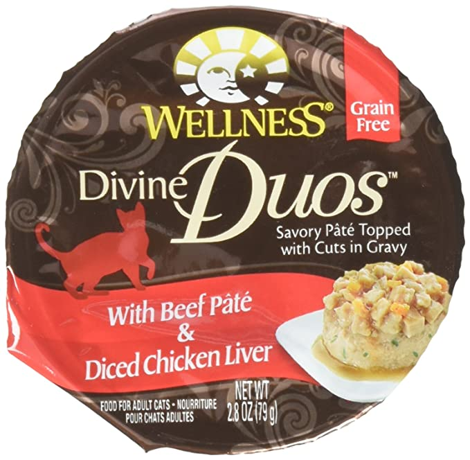 Wellness Divine Duos with Beef Pate & Diced Chicken Liver - 24x2.8 oz