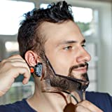 MANECODE Beard Shaping Tool Trimming Template - Sharp, Crisp and Professional Cuts - Neck, Cheek Line or Sideburns Guide - Transparent Multifunctional Shaving Template or Stencil - Built-in Comb
