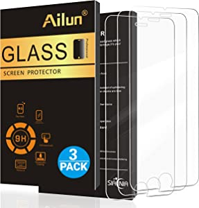 Ailun Screen Protector for Apple iPhone SE 2nd Generation, iPhone 8,7,6s,6, 4.7-Inch,[3 Pack] 2.5D Edge Tempered Glass 0.25mm,Case Friendly