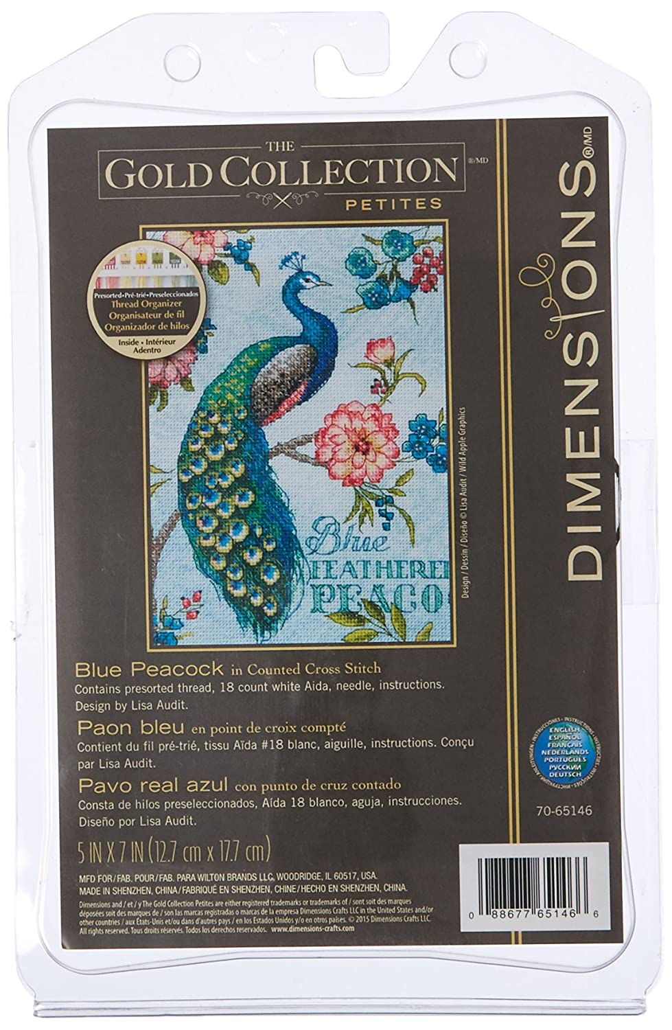 Dimensions Gold Collection Counted Cross Stitch Kit, Blue Peacock, 18 Count White Aida, 5'' x 7''