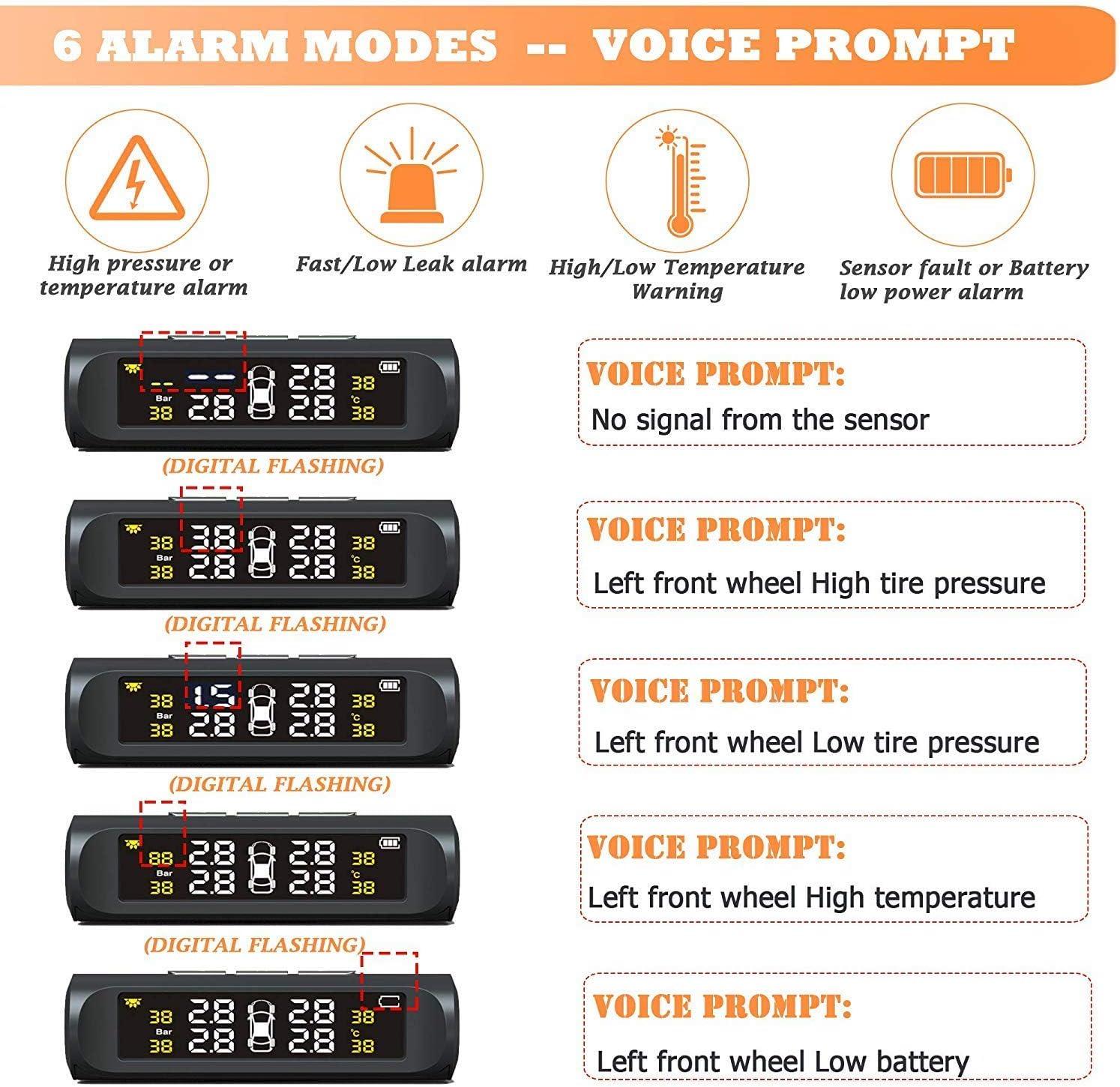Gorgeri TPMS Sensor Sistema de monitor de presi/ón de neum/áticos USB para autom/óvil Alarma de monitoreo TPMS con sensor externo para navegaci/ón Android