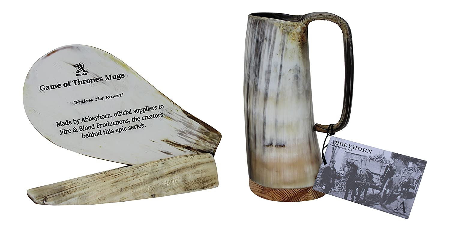 Large Handcrafted Ox Horn Tankard Soldiers Mead Cup Approx 1 1/2 Pints Useable Abbeyhorn