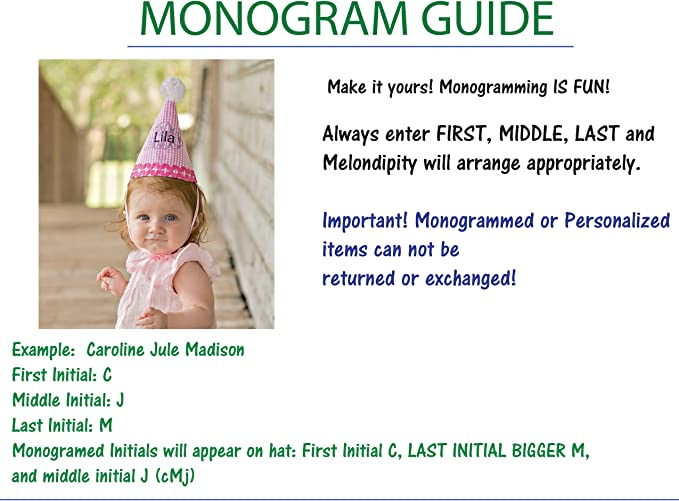Melondipity Girls Monogrammed Birthday Cone Pink and White Gingham