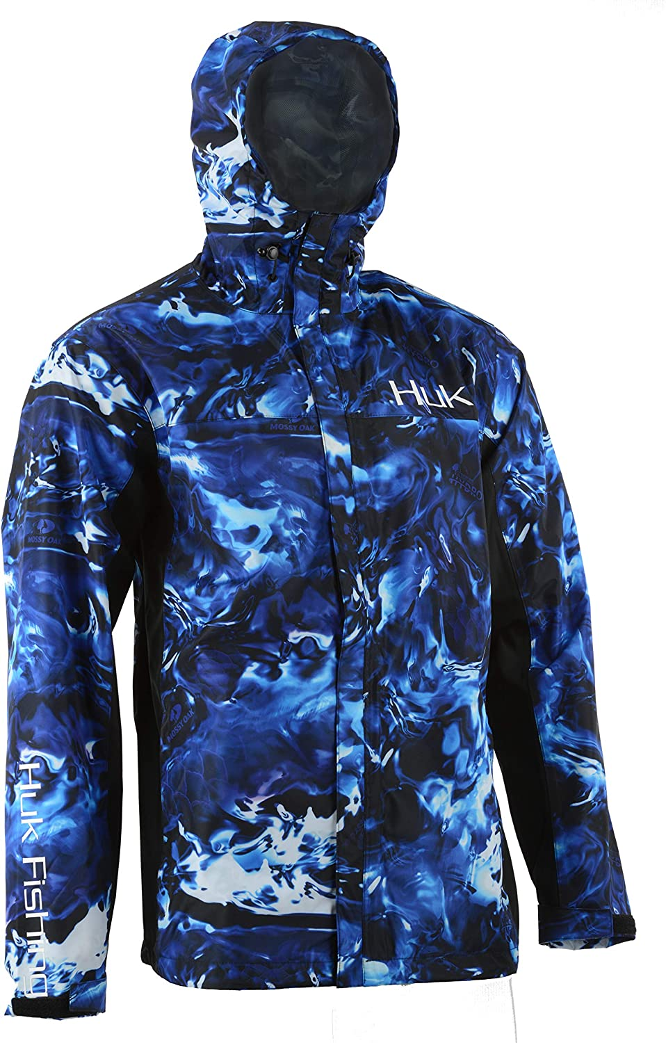 HUK Mens CYA Camo Packable Rain Jacket