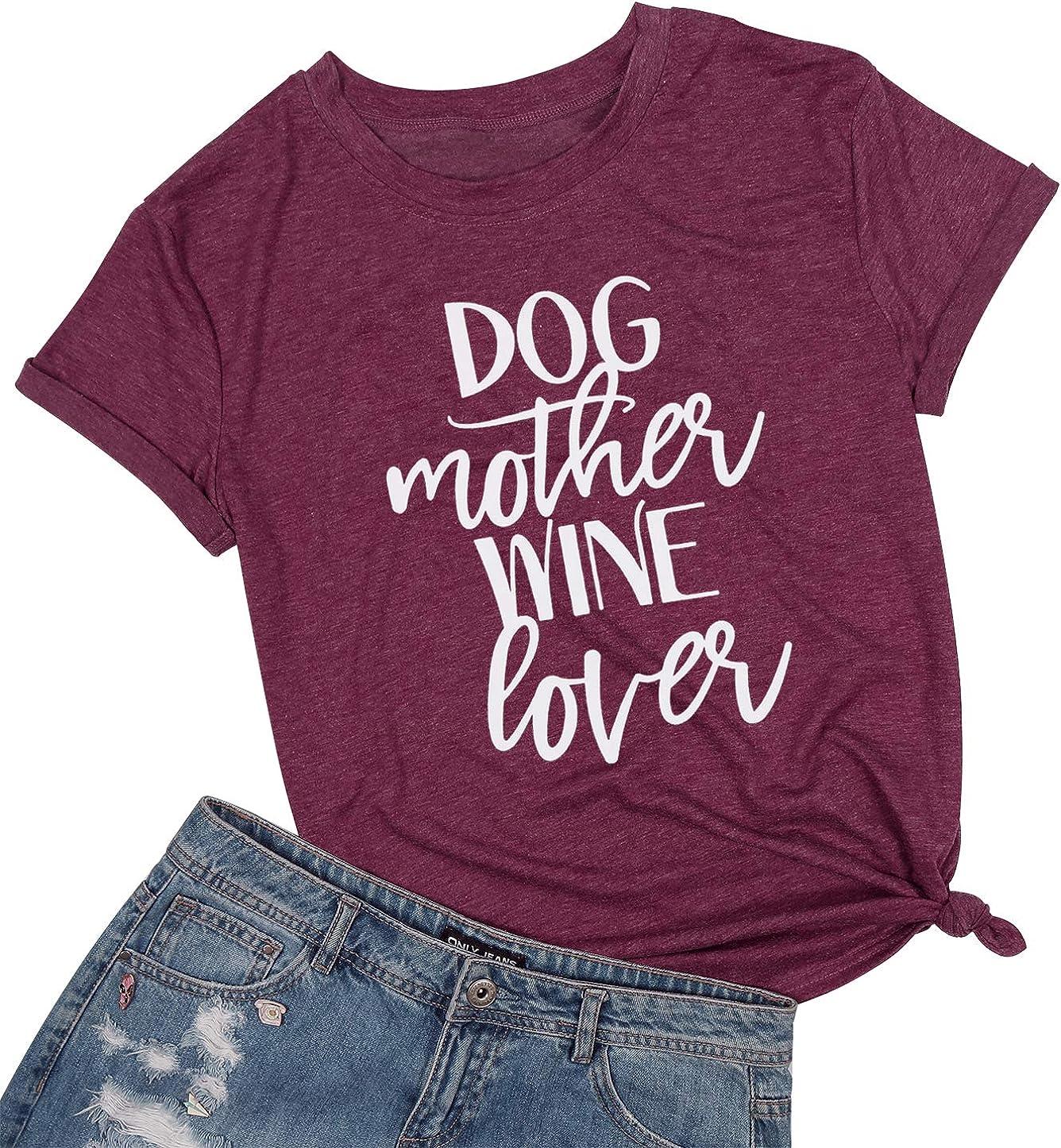 wine lover ladies fit black t-shirt. Dog mother