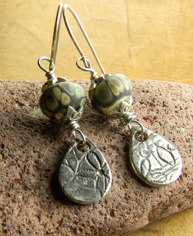 Artisan Lampwork Glass and Sterling Silver Earrings