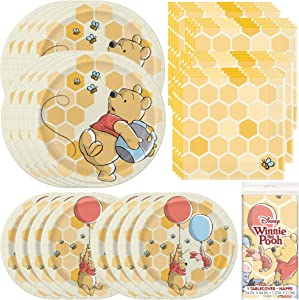 Unique Disney Winnie The Pooh Dinnerware Party Bundle | Luncheon Napkins, Dinner & Dessert Plates, Table Cover | Great for Themed Parties, Kid's Birthday, Halloween - Officially Licensed by Unique