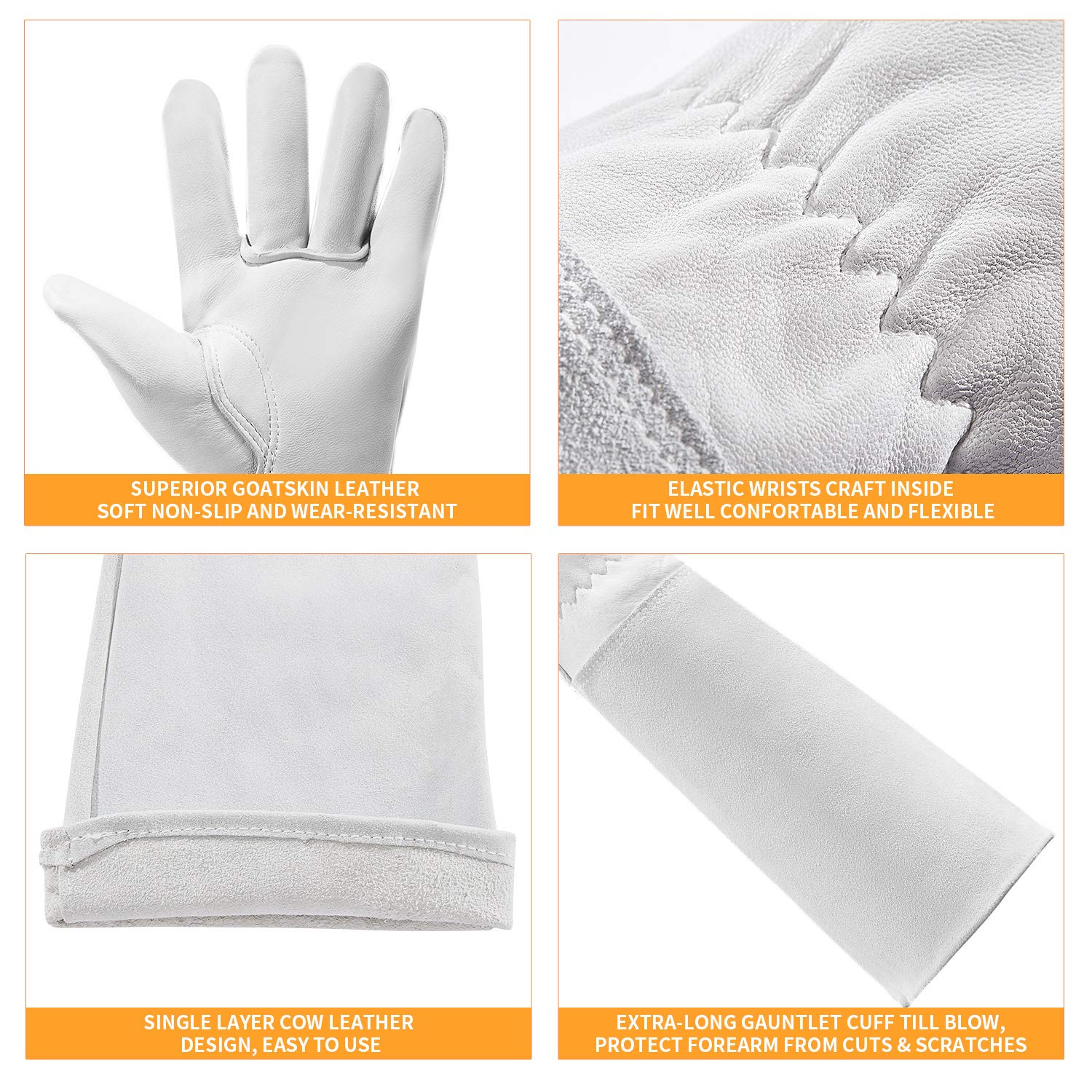 Thorn Proof Goatskin Leather Gardening Gloves with Long Cowhide Gauntlet to Protect Your Arms Until Elbow S Long Rose Pruning Gloves for Men and Women