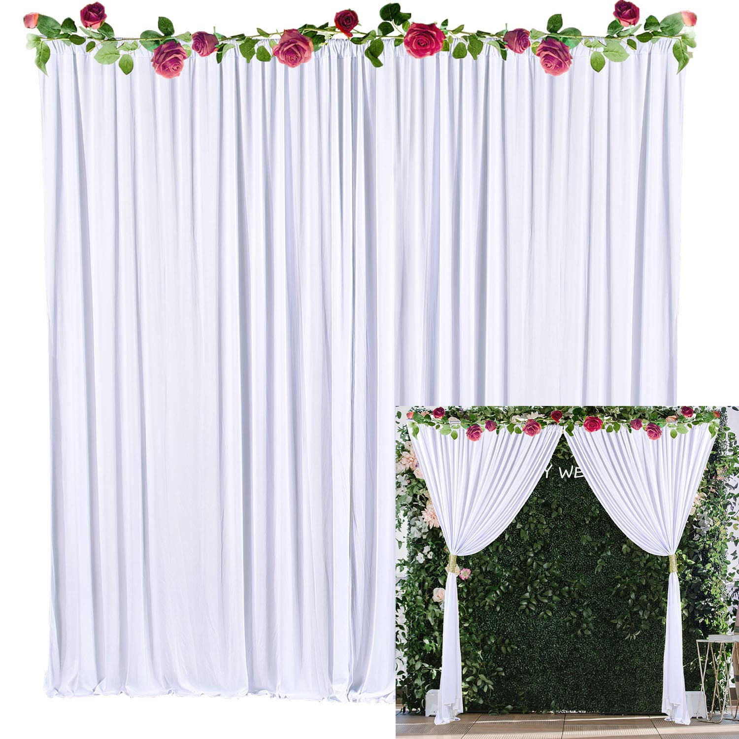 White Backdrop Curtain Photo Drape Backdrop for Weddings Baby Shower Birthday Party Engagement Photography with Golden Curtain Tiebacks 5ft x 10ft (Pack of Two)