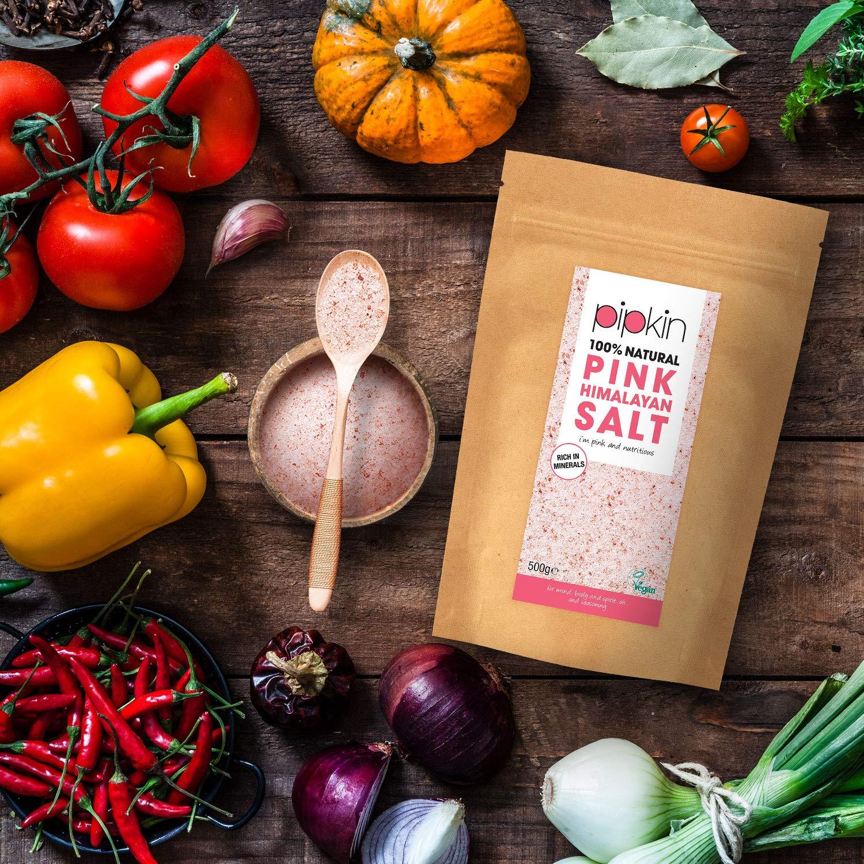 Pipkin 500 g Sal Rosa del Himalaya Natural, Tamaño 0.3-1mm, Alimento Gourmet Premium de Primera Calidad, Cristales de Sal Puros y Sin Refinar, ...