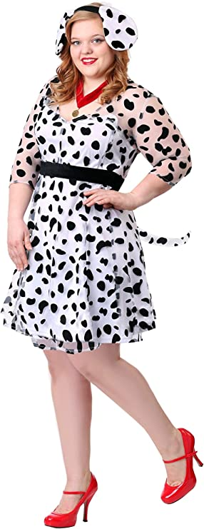 1950s Costumes- Poodle Skirts, Grease, Monroe, Pin Up, I Love Lucy Plus Size Womens Dressy Dalmatian Costume $44.99 AT vintagedancer.com