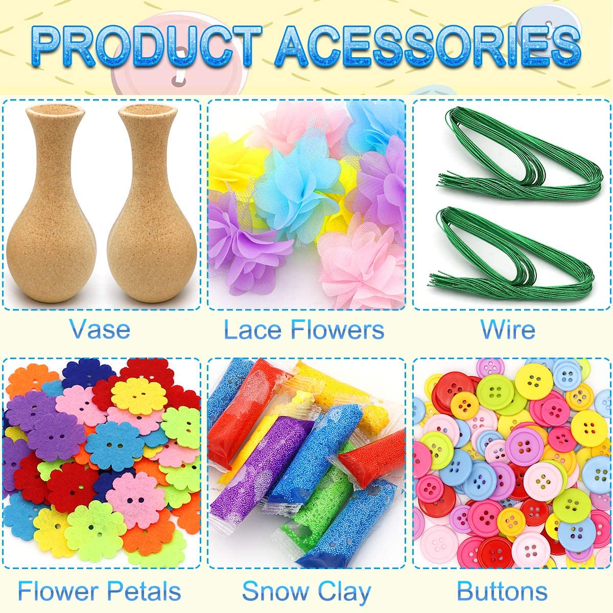 Flower Craft Kit for Kids Angela/&Alex 2 Packs Colorful Flower /& Vase Art Kits DIY Your Own Flower with Button and Lace Flowers Crafts Fun Activity for Boys /& Girls Age 4 5 6 7 8 9 10 11 12 Years Old