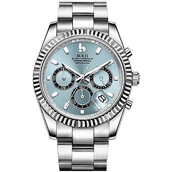 22167ae4e BUREI Mens Chronograph Quartz Watch Light Blue Analog Dial Date Display  Sapphire Crystal Lens Silver Stainless