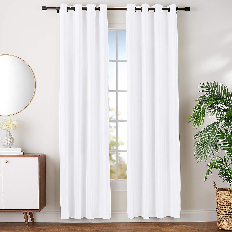 "AmazonBasics Room Darkening Blackout Window Curtains with Grommets- 52"" x 96"", White, 2 Panels"
