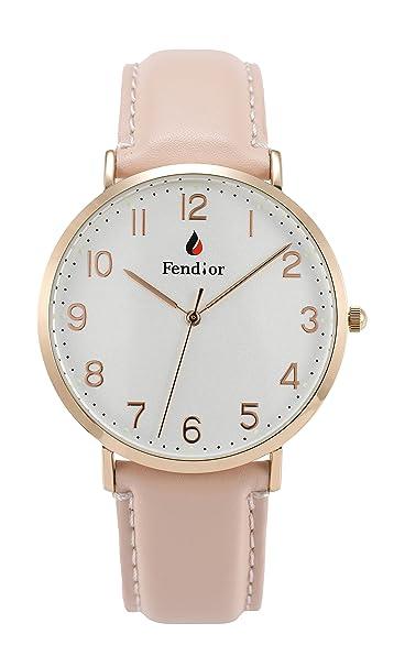 Amazon.com  Fendior Women Girl Waterproof Pink Leather Rose Gold ... 65ade2029ef0