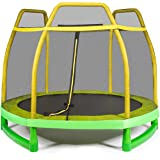 Giantex 7 Ft Kids Trampoline w/Safety Enclosure Net, Spring Pad, Zipper, Heavy Duty Steel Frame, Mini Trampoline for Indoor/O