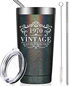 BIRGILT 1970 50th Birthday Gifts for Women and Men, Funny Anniversary Gift Ideas for Mom Dad Wife Husband Her Him, Vintage 50 Year Old Wedding Decorations and Supplies, Tumbler Cup with Lid and Straw