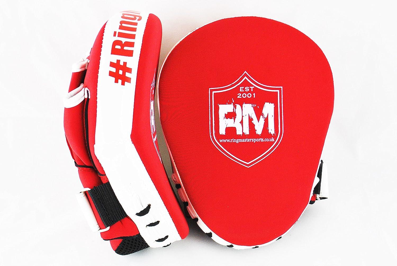 Red RingMasterUK Focus Pads Mitts Hook Jab One Size Ultralight Training Boxing MMA UFC