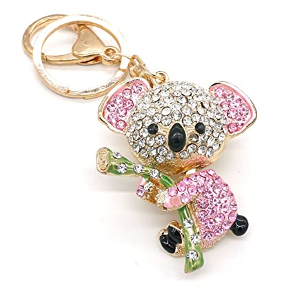Cooplay Linda hermosa rosa moda Koala Oso Animal diamante Rhinestone cristal oro cristal llavero encanto pendiente para mujeres chica bolso encanto ...