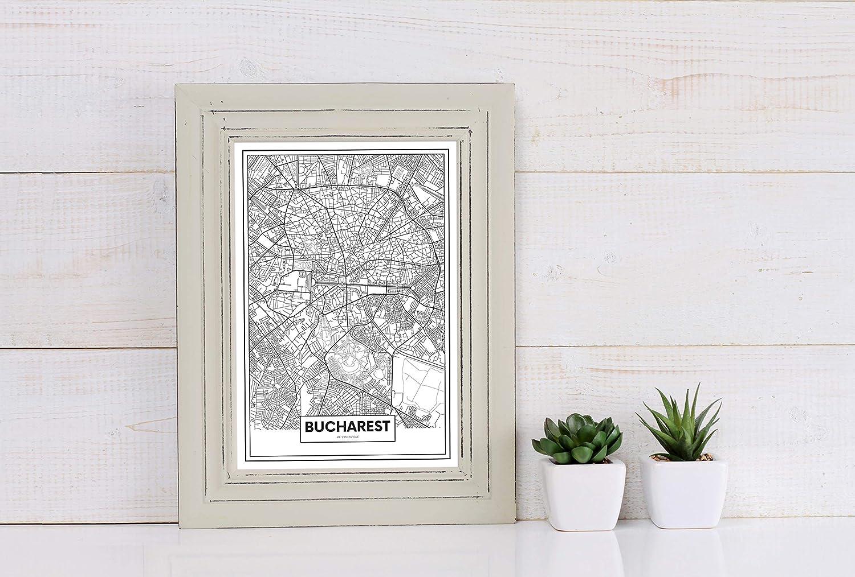 Panorama® Cuadro Cartón Pluma Mapa de Bucarest 35 x 50 cm | Impreso en Cartón Pluma Cuadros Modernos Decoración Salón | Cuadros para Dormitorio | Láminas ...